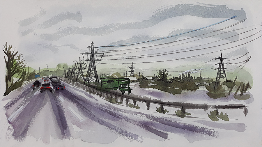 View from the M56 - painting by Jo Dunn 2020