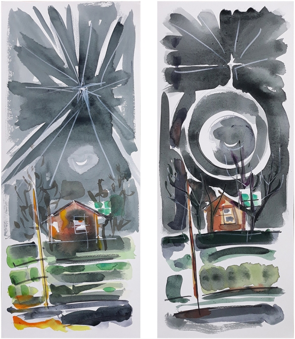 Leaving the Co-op, two paintings by Jo Dunn 2020