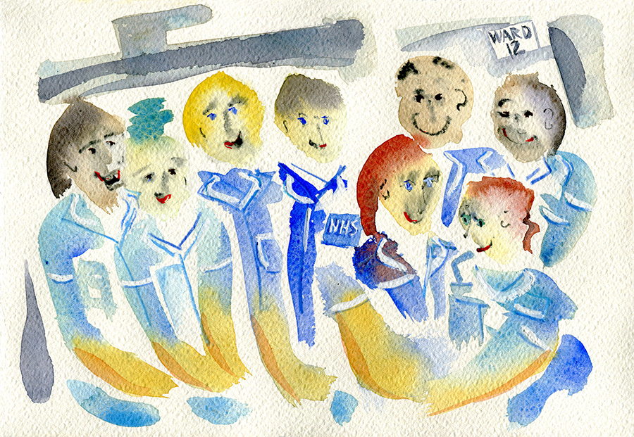 Hospital Team - Thank You NHS - watercolour painting by Jo Dunn 2020