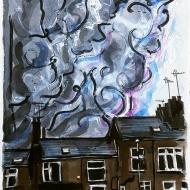 Coronacloud, watercolour painting by Jo Dunn 2020
