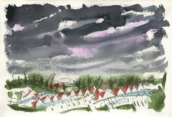 Under Lockdown Skies - original watercolour painting by Jo Dunn 2020