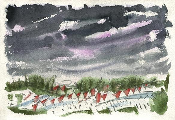 Under Lockdown Skies - original watercolour painting by Jo Dunn 2020