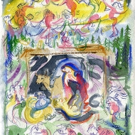 Mystic Nativity - after Botticelli, 1500 - painting by Jo Dunn, 2020, to celebrate this Christmas, after a really bad coronavirus year