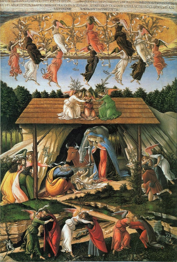 Mystic Nativity - a painting by Sandro Botticelli, from 1500AD