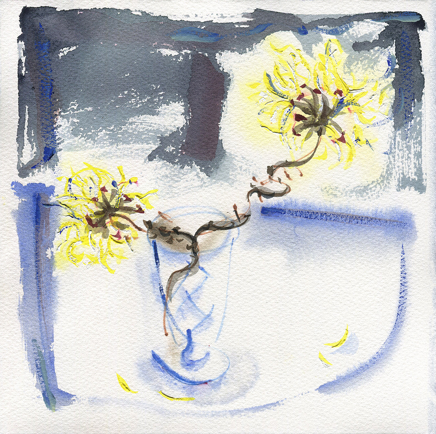 Still Life with Witch Hazel IV - watercolour painting by Jo Dunn