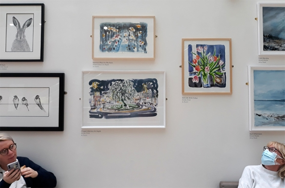 Jo Dunn's paintings in the English Art Company exhibition at Bexley Wing, St James' Hospital, Leeds 8