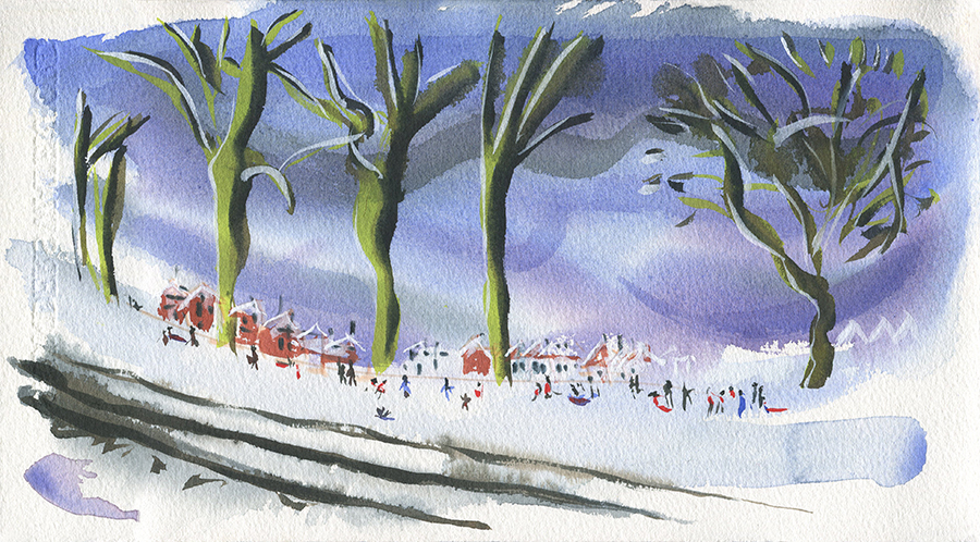 Friday Afternoon, Snow and No School. The watercolour painting shows a park on slope in the snow and people out playing, talking and sledging. January 2021