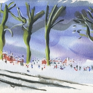 Snow and No School. The watercolour painting shows a park on slope in the snow and people out playing, talking and sledging. January 2021