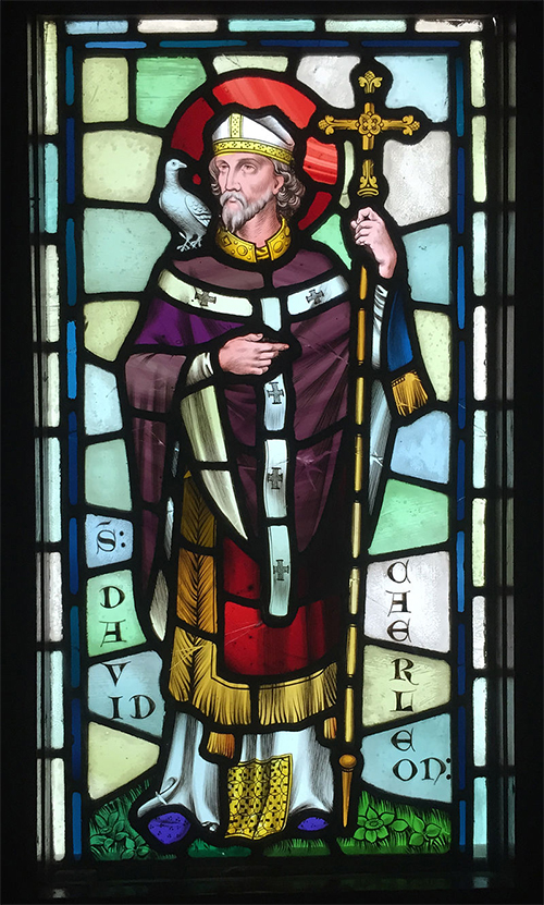 photograph of stained glass window depicting Saint David