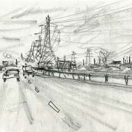 View from the M56 - pencil drawing by Jo Dunn